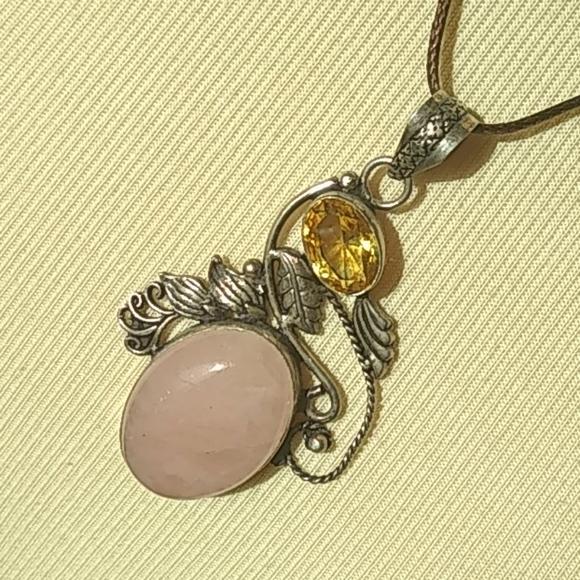 Silver Rose Quartz & Citrine Stones Necklace Peice